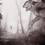 Страшный монстр крадется за маленькой девочкой — эта картинка иллюстрирует страшные звуки для монтажа