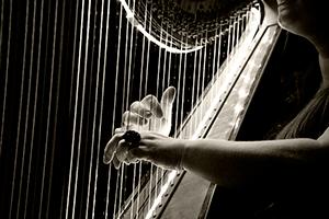 Руки перебирают струны  и создают звук арфы для монтажа