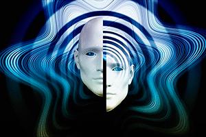 На картинке изображение волн и расколотого лица — иллюстрация к публикации «Короткие звуки для монтажа»