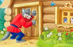 Волк стучит в дверь к козлятам — иллюстрация к публикации «Звук стука в дверь для сказки»